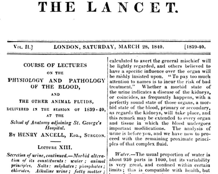 1840 edition of The Lancet medical journal