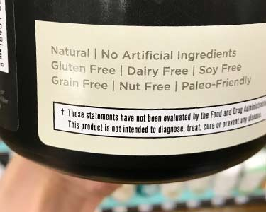 Ancient Nutrition label touting its free of common allergens