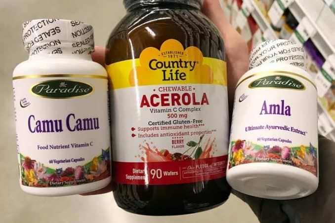 capsule supplements of amla, camu camu and acerola cherry