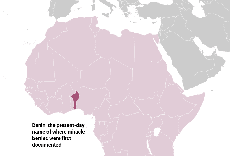 map of Benin where the plant grows native