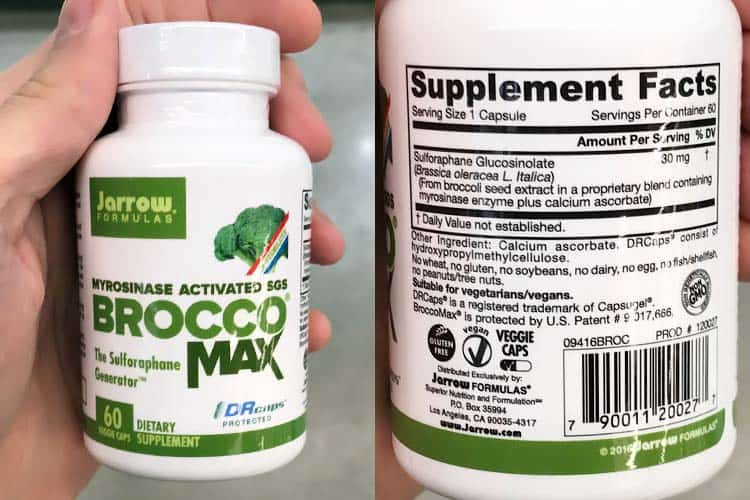 Broccomax sulforaphane supplement ingredients and nutrition facts label