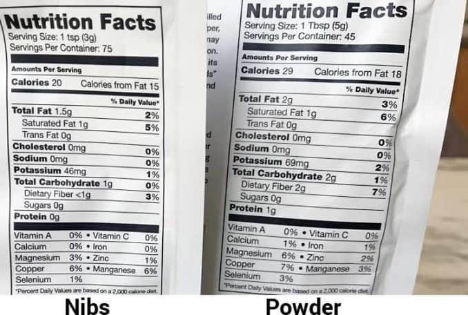 nutrition facts labels for cacao nibs and powder