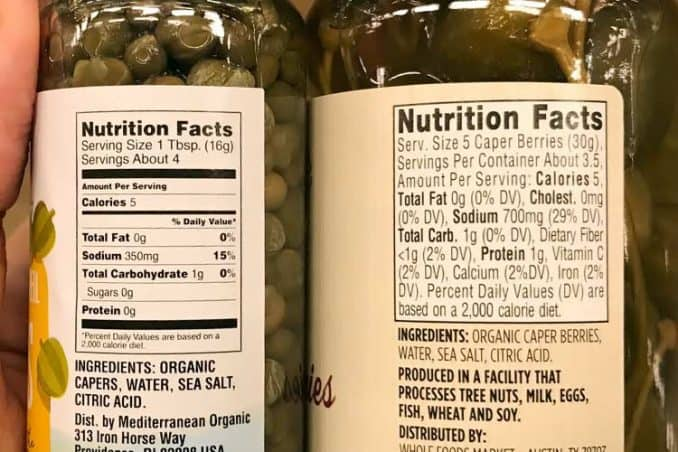 labels showing nutrition facts for capers and caper berries