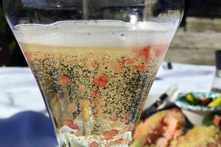 citrus caviar in champagne glass