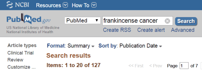 frankincense cancer research in PubMed database