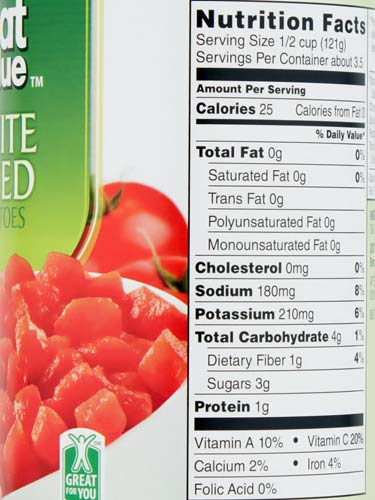 Great Value canned tomatoes nutrition facts