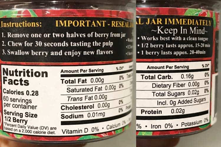 miracle berry nutrition facts