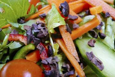 nibs on green salad
