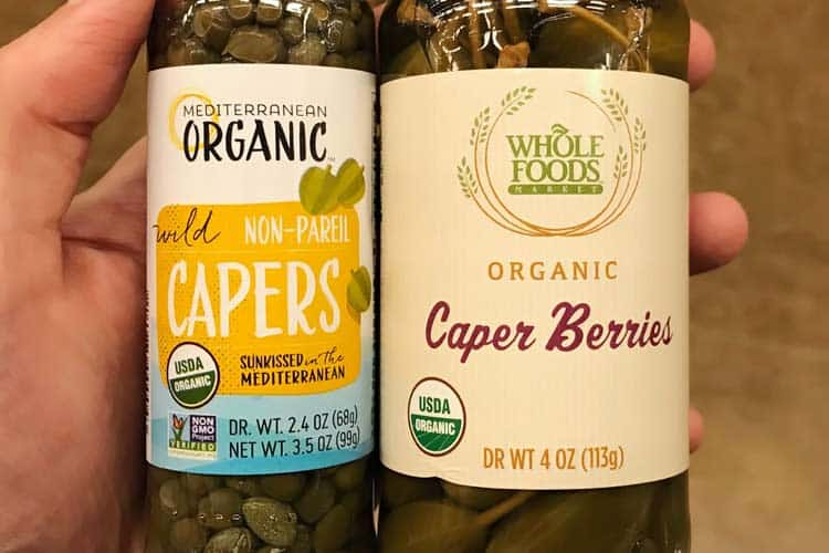 organic non-pareil capers and caper berries