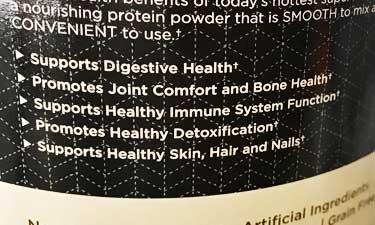 benefits list on bone broth package