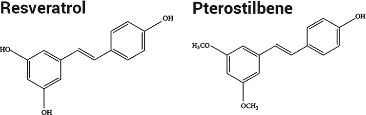 resveratrol and pterostilbene molecules compared