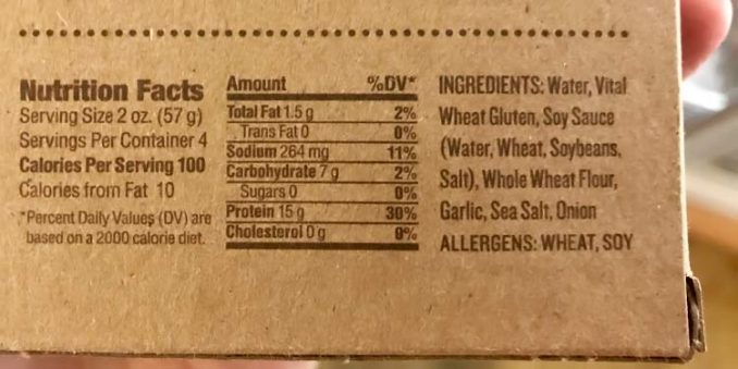 plain seitan nutrition facts label and ingredients