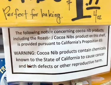 Trader Joe's prop 65 warning label for cacao products