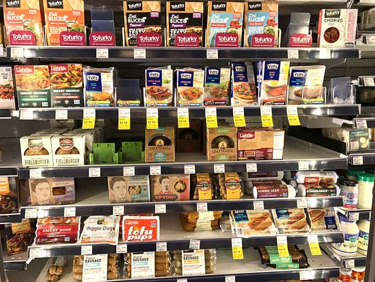 brands of seitan and other imitation meats at grocery store