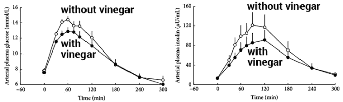 graphs showing blood sugar and insulin levels with and without vinegar consumption