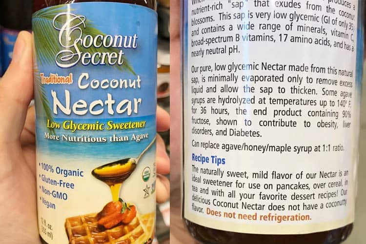 label on Coconut Secret nectar bottle
