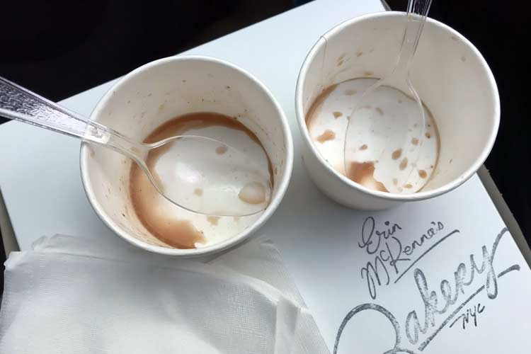 empty ice cream cups from Erin McKenna's Bakery NYC, formerly Babycakes