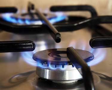 flame on gas burner of stove