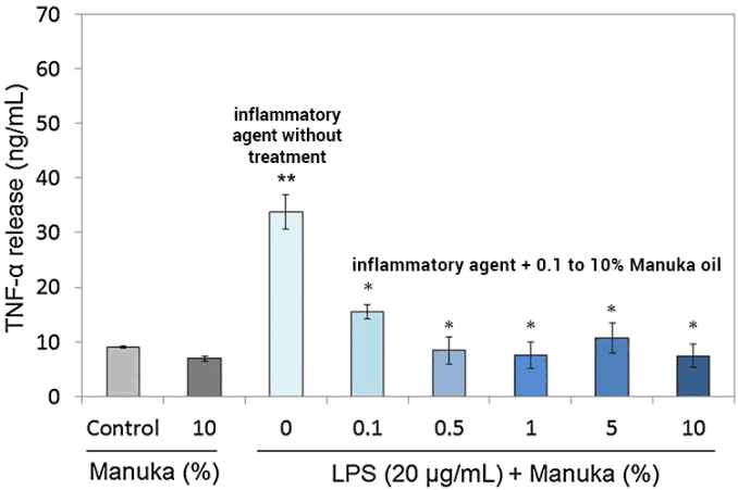 bar graph showing inflammation with and without manuka oil treatments