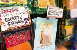 cold-smoked sockeye and Atlantic salmon for sale at Trader Joe's store