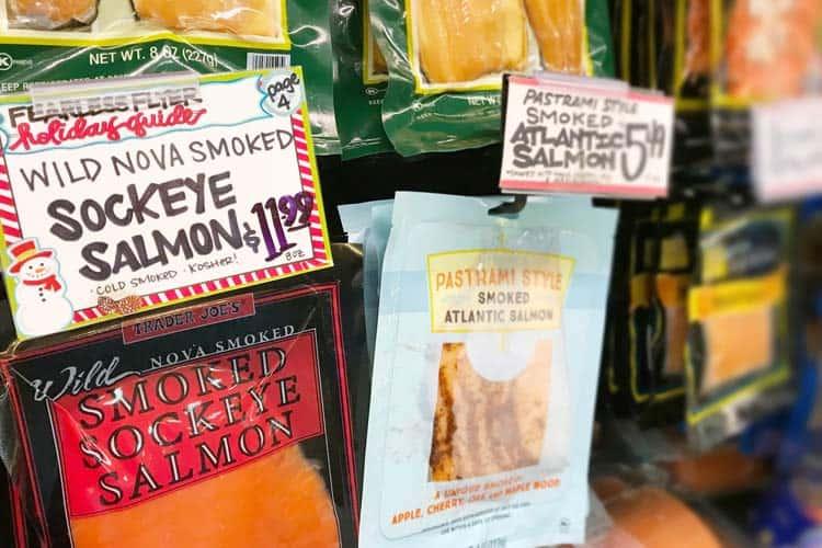 cold-smoked sockeye and Atlantic salmon for sale at Trader Joe's store
