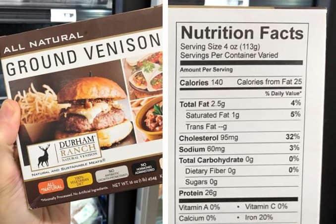 venison nutrition facts