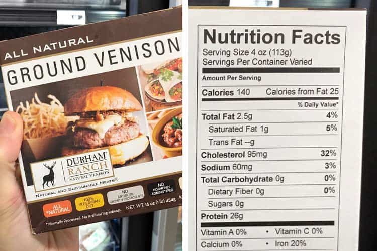 venison nutrition facts