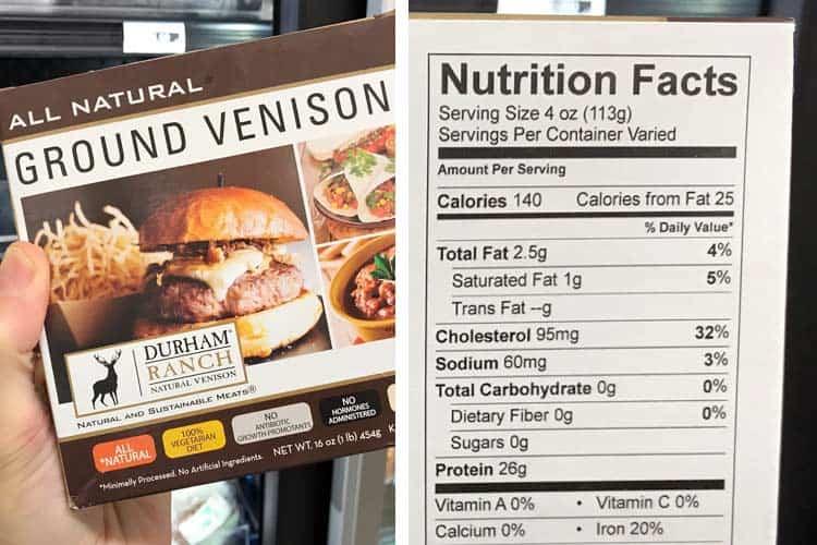 información nutricional de venado