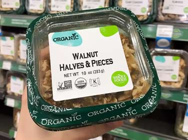 organic walnuts at Whole Foods