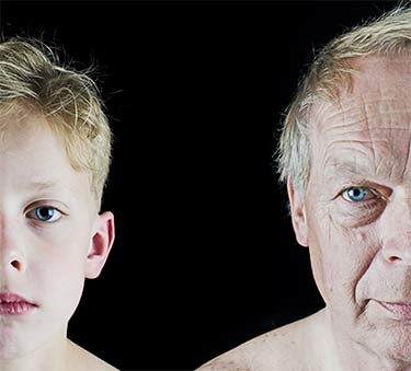 aging of young boy to old man