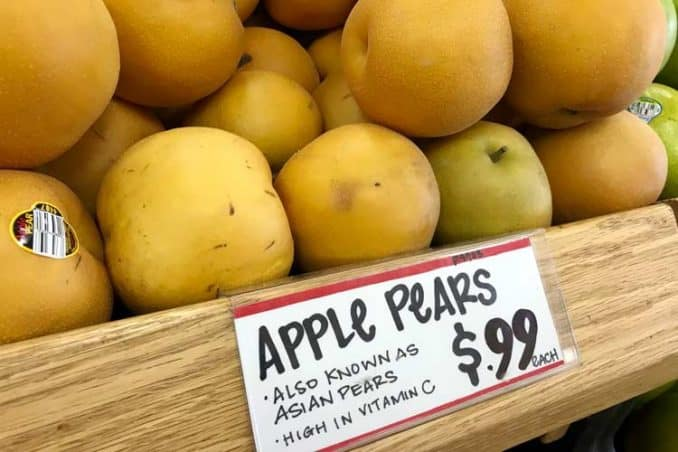 Trader Joe's sign showing Asian and apple pears are the same thing