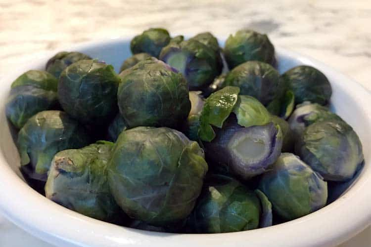 cooked Brussels sprouts in bowl