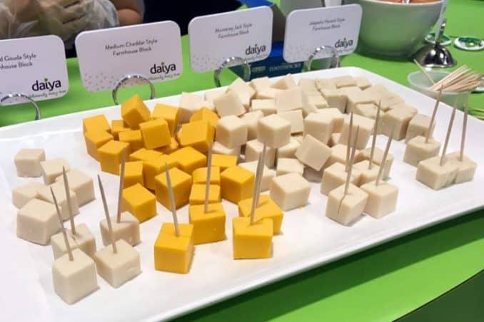 Daiya cheese flavors of gouda, cheddar, Monterey Jack, and harvati