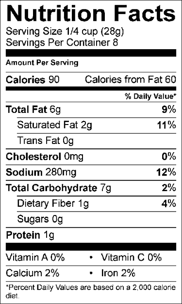 Daiya nutrition facts for mozzarella style shreds