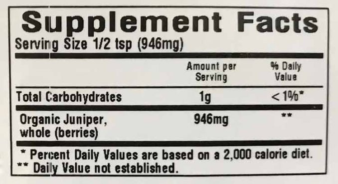 juniper berry nutrition facts label