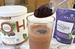 chocolate protein shake with organic maqui powder added