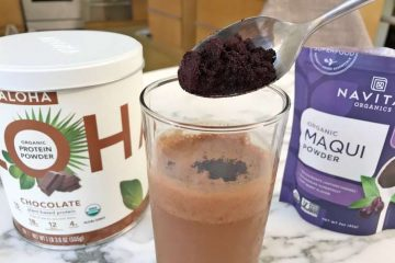 chocolate protein shake with organic maqui powder added