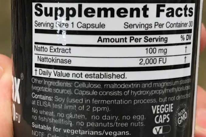 nutrition or supplement facts label for nattokinase capsules
