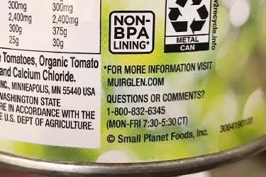 non-BPA lining symbol on Muir Glen tomatoes in can