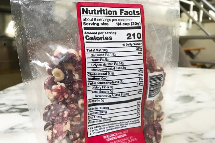 red walnut nutrition facts label