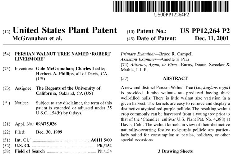 patent filing by UC Davis for Robert Livermore walnut variety