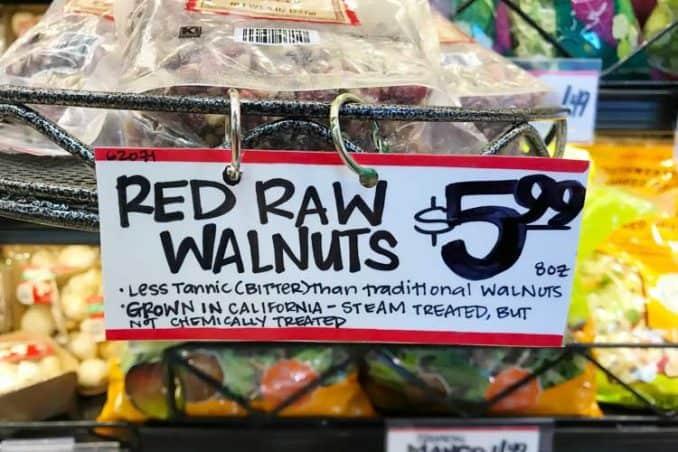 Trader Joe's sign about red walnut taste for PLU/SKU 62071