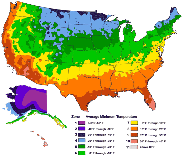 map of USDA hardiness zones in the United States
