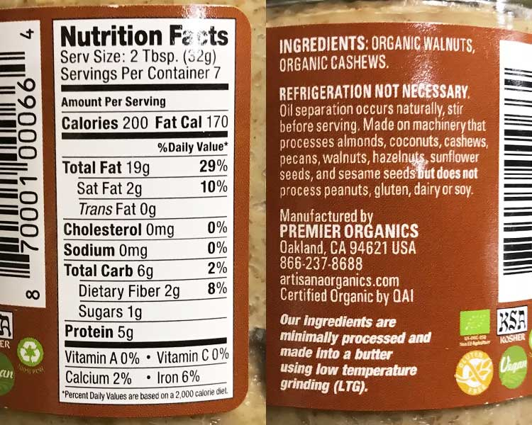 walnut butter nutrition facts and ingredients label