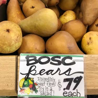 fresh and raw Bosc pears at grocery store