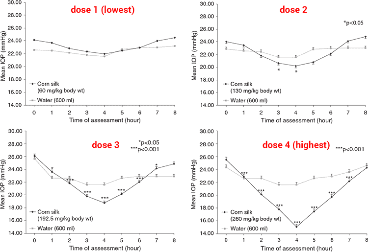 charts showing intraocular pressure with corn silk and placebo