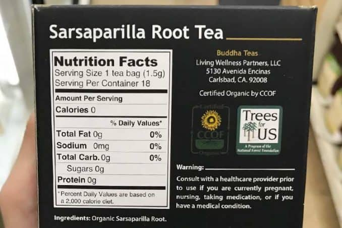 sarsaparilla root nutrition facts