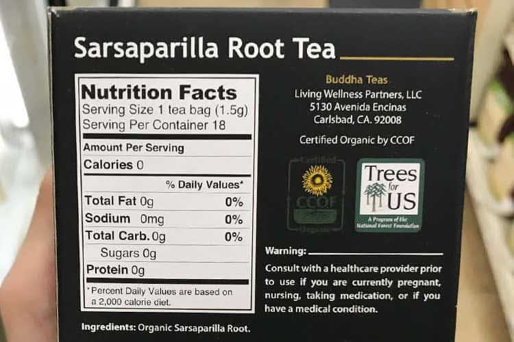 sarsaparilla root nutrition facts