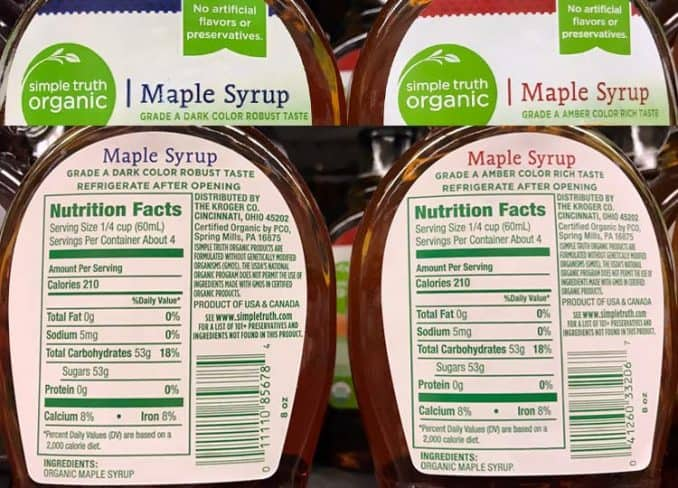 labels for maple syrup nutrition facts, grade A light and grade B dark