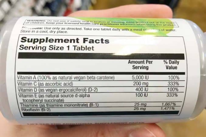 VegLife supplement facts label